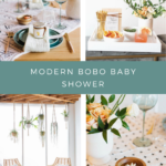 "This ""Modern Boho Baby Shower with Crystals and Positive Vibes"" features Palo Santo decor, a modern tablescape with a crafty baby swaddle table runner and crystal-infused candle favors."