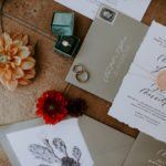 This late summer wedding invitation suite includes a modern calligraphy style with grey and peach accents.