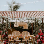 The bride and groom have special peacock chairs for their late summer wedding at Inn at Rancho Santa Fe.