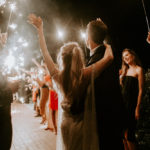 A sparkler sendoff for this late summer wedding outdoors at Inn at Rancho Santa Fe.