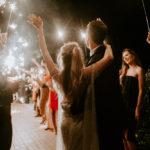 A sparkler sendoff for this late summer wedding outdoors at Inn at Rancho Santa Fe.